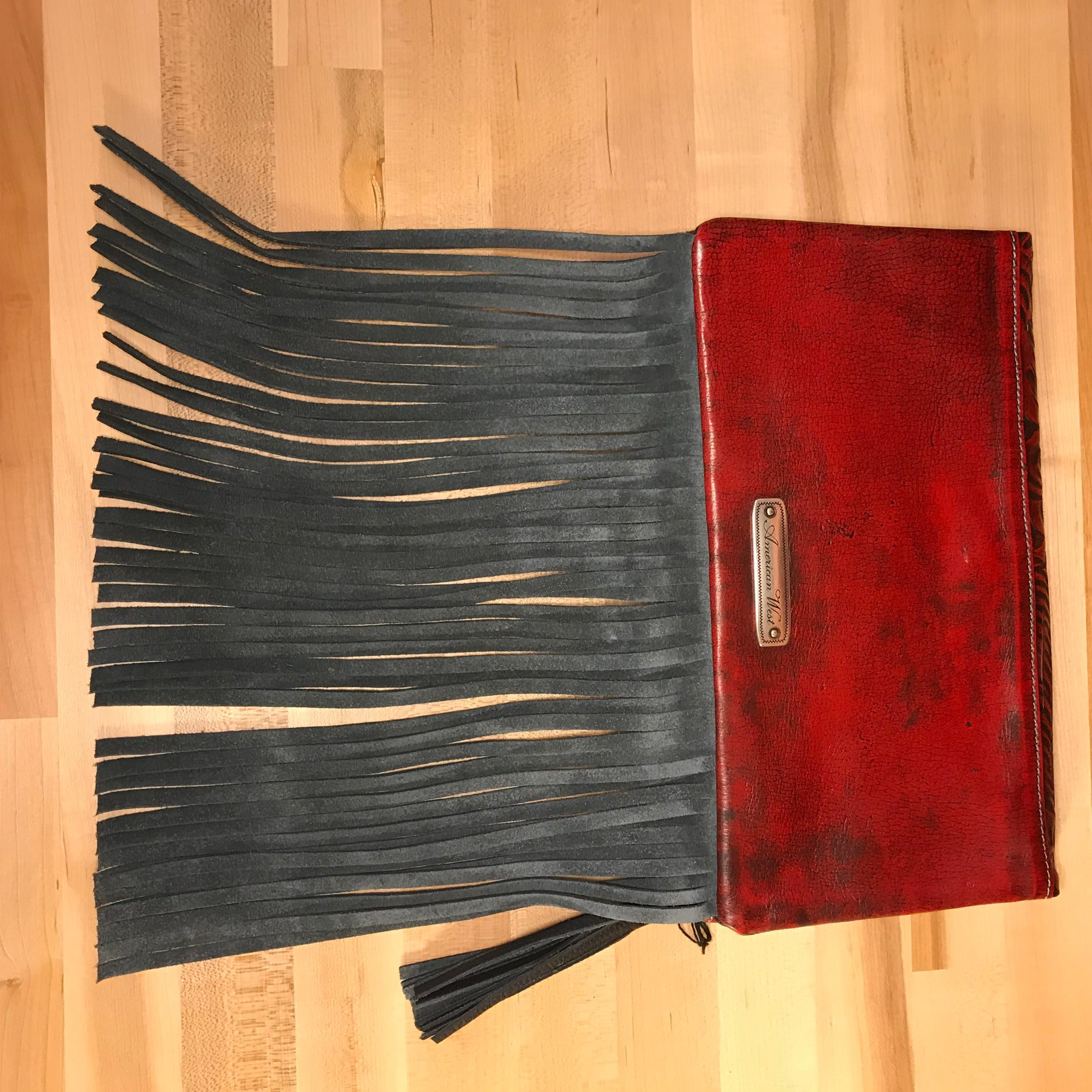 Distressed Crimson Leather Folded Clutch Crimson with Fringe - American Leatherworks