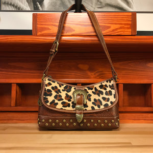 Leopard Print and Brown Leather Zip-Top Shoulder Bag with Buckle - American Leatherworks