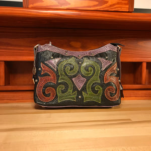 Black Leather Zip Top Shoulder Bag with Swirl Appliques - American Leatherworks
