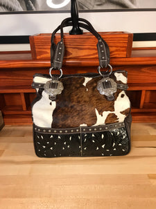 Black and White Printed Cowhide on Brown Leather Large Zip-Top Carry-All with Filigree Inlay - American Leatherworks