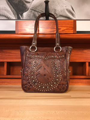 Lucky Horseshoe Antique Brown Leather Zip Top Tote with 3 Outside Pockets - American Leatherworks