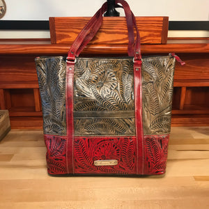 Distressed Charcoal Brown and Pomegranate Zip-Top Briefcase Tote - American Leatherworks