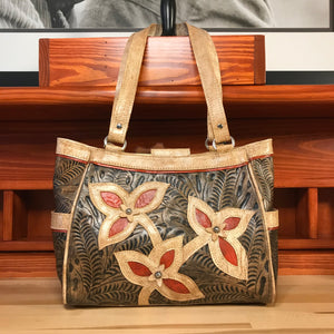 Distressed Charcoal Brown Leather 3 Compartment Tote with Flower Cut Outs - American Leatherworks