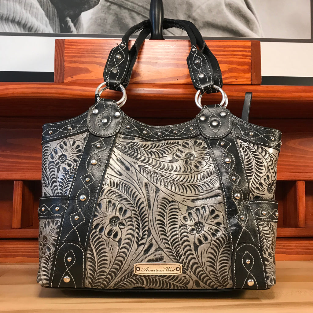 Distressed Gray Leather Fashion Tote - American Leatherworks