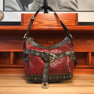 Distressed Crimson Zip-Top Hobo with Belt - American Leatherworks