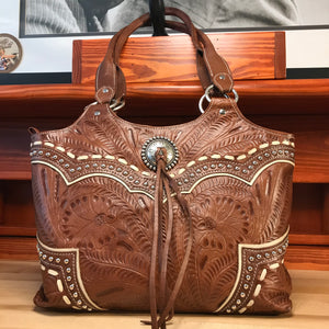 Girly Curves Antique Tan Leather Zip-Top Fashion Tote - American Leatherworks