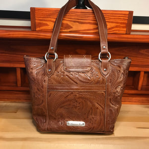 Antique Brown Carved Leather Zip-Top Bucket Tote - American Leatherworks