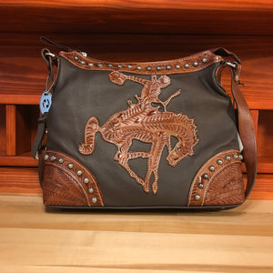 Soft, Tumbled Chocolate Leather with Antique Tan Bucking Bronco Zip-Top Hobo - American Leatherworks