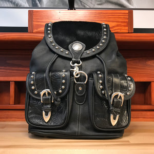 Black Leather Drawstring Backpack with Front Pockets - American Leatherworks