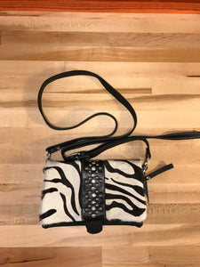Black and White Zebra Print Hair-on Leather Foldover Clutch with Detachable Strap - American Leatherworks