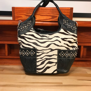 Large Black and White Zebra Print Convertible Tote - American Leatherworks