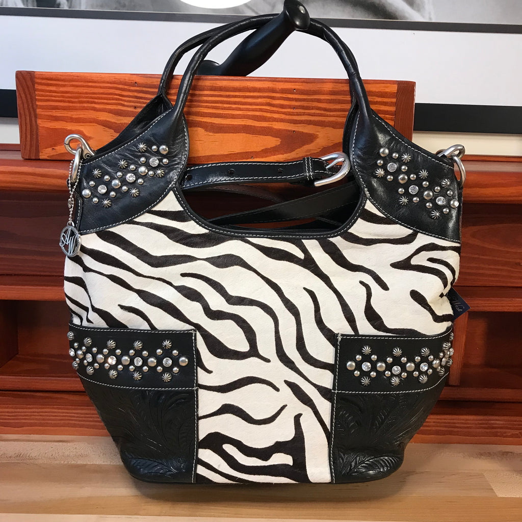 Zebra Print Hair-On Leather Zip-Top Carry-all Tote - American Leatherworks