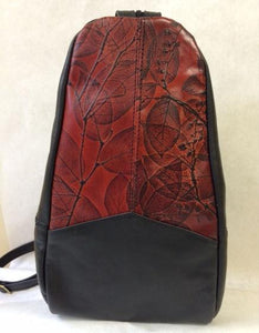 Black and Colored Leaf Leather Backpack (Color Options) - American Leatherworks