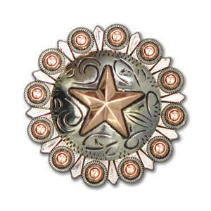3D Star Round Berry Concho with Screwpost (Choose Size and Color at Checkout) - American Leatherworks