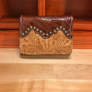 Cream and Caramel Brown Leather Ladies' Trifold French Wallet - American Leatherworks