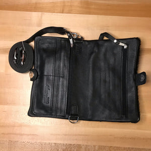 Black Leather Folded Clutch with Detachable Strap - American Leatherworks