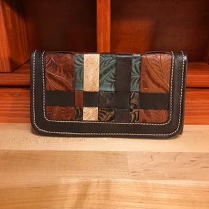Ladies' Woven Turquoise, Chocolate, and Brown Leather Trifold Wallet - American Leatherworks
