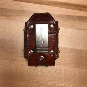 Mahogany Leather Cell Phone Case with Cross - American Leatherworks