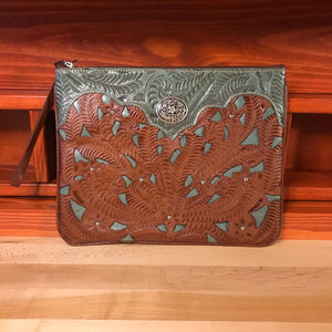 Antique Turquoise and Tan Leather Tablet Computer Case - American Leatherworks