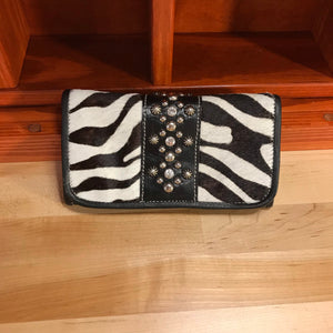 Zebra Print Leather Ladies' Trifold Wallet with Crystals - American Leatherworks