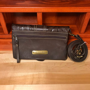Brown Leather Folded Clutch with Detachable Strap - American Leatherworks