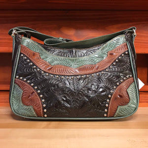 Dark Chocolate Leather with Turquoise and Tan Trim Zip-top Shoulder Bag - American Leatherworks