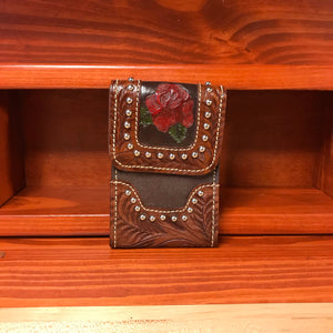Hand Carved and Painted Red Leather Rose Cell Phone Case - American Leatherworks