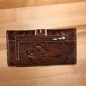 Antique Brown Leather Ladies' Trifold Wallet with Cream Lace and Buckle - American Leatherworks