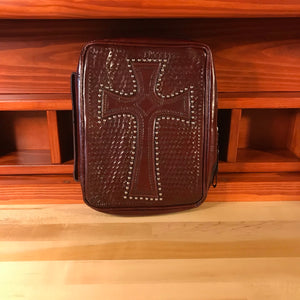 Mahogany Leather Zip Around Bible Cover with Cross and Cell Pouch - American Leatherworks