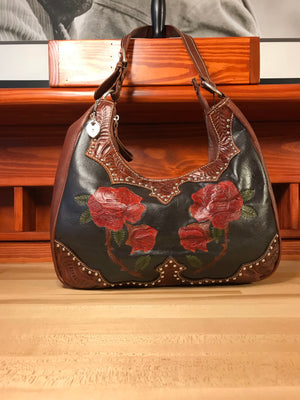 Red Roses Leather Scoop-Top Structured Hobo - American Leatherworks