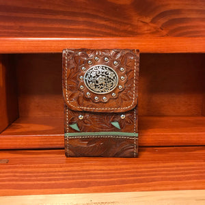 Antique Brown Leather Cell Phone Case with Turquoise Filigree and Concho - American Leatherworks