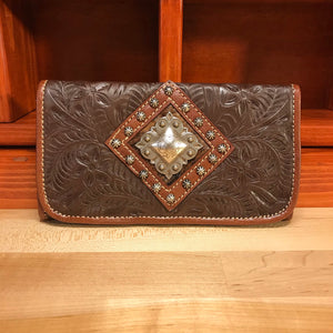 Chocolate Brown Leather Ladies' Trifold Wallet with Diamond Sunburst Concho - American Leatherworks