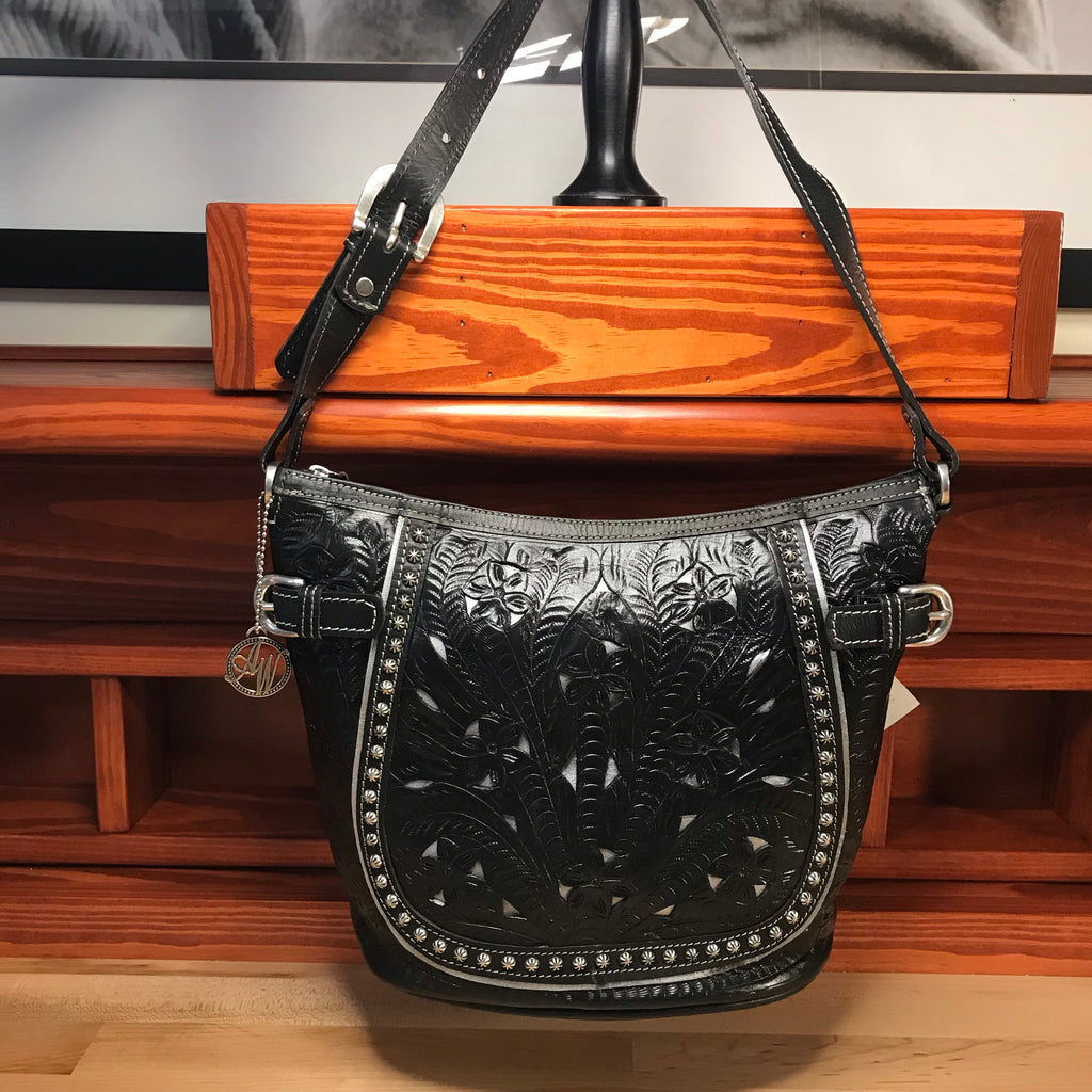 Filigree Black Leather Zip-Top Bucket Shoulder Bag - American Leatherworks
