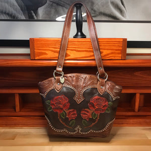 Red Roses Leather Zip-Top Bucket Tote - American Leatherworks