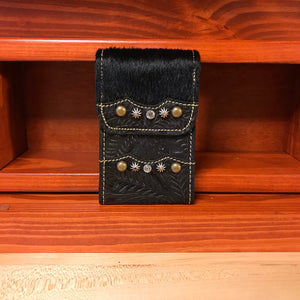 Black Leather Cell Phone Case with Crystals - American Leatherworks