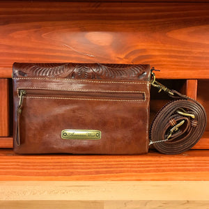 Foldover Brown Leather Clutch with Detachable Strap - American Leatherworks