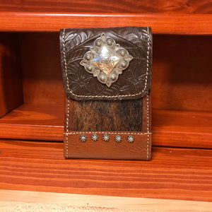 Chocolate Brown and Brown Hair-On Leather Cell Phone Case with Diamond Concho - American Leatherworks