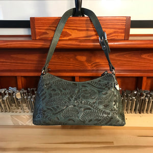 Turquoise Leather Zip-Top Shoulder Bag with Filigree Accents - American Leatherworks