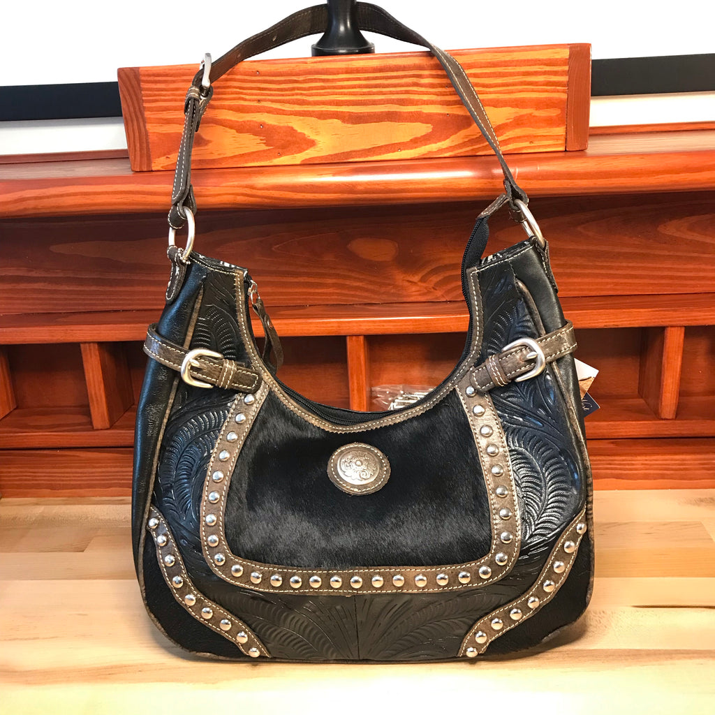 Concealed Carry Black Tooled and Hair-On Leather Scoop-Top Shoulder Bag - American Leatherworks