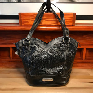Hand Carved Black Leather Zip Top Tote - American Leatherworks