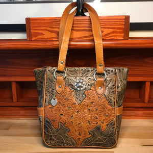 Antique Brown on Distressed Charcoal Brown Leather Zip Top Tote with 3 Outside Pockets - American Leatherworks