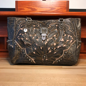Travel Sized Distressed Charcoal Brown Leather Carry-on Tote with Filigree Inlay - American Leatherworks