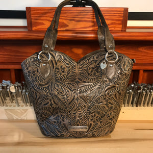 Distressed Charcoal Brown Leather Zip-Top Tote with Filigree Accents - American Leatherworks