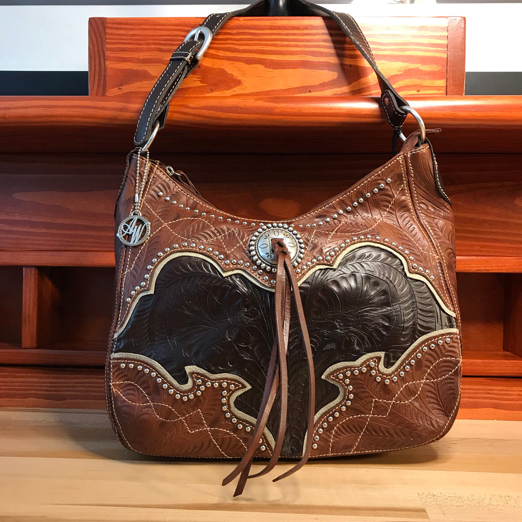 Dark Chocolate and Antique Brown Leather Zip Top Structured Hobo with Cream Trim - American Leatherworks