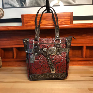 Distressed Crimson Zip Top Tote with Buckle - American Leatherworks