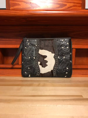Spotted Pony Print Hair-on Leather Tablet Computer Case with Filigree Accents - American Leatherworks