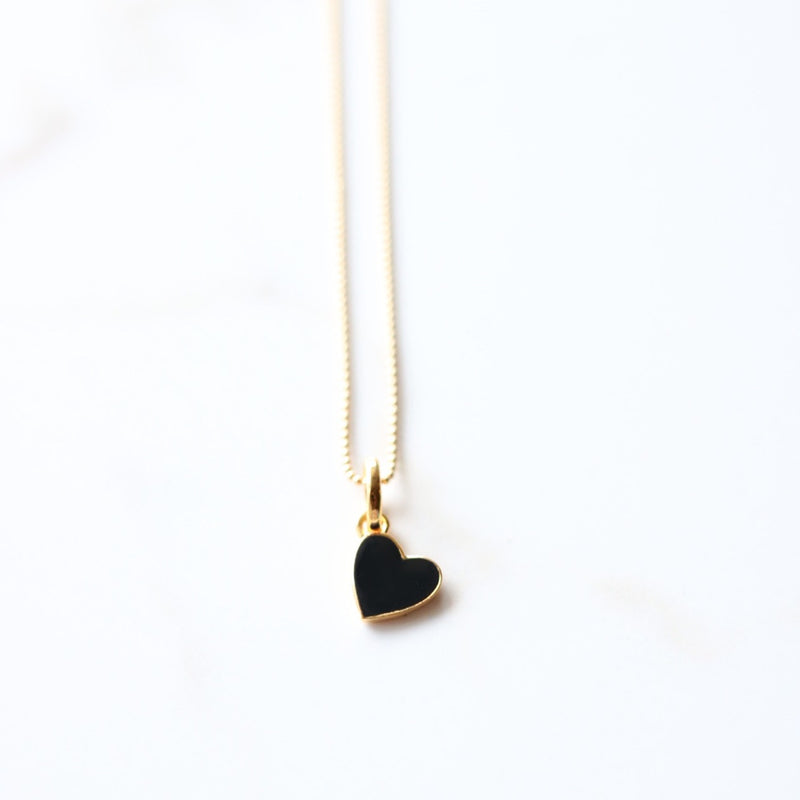 Enamelled Mini Heart Pendant - Black