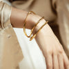 Valencia Wavy Bangle - Gold