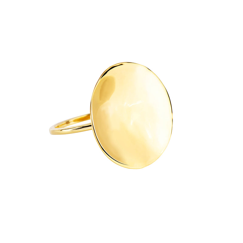 Wavy Disc Ring - Gold