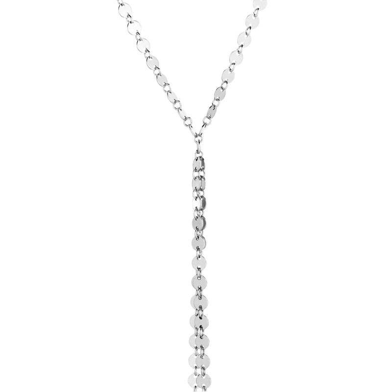 Coin Chain Lariat - Silver